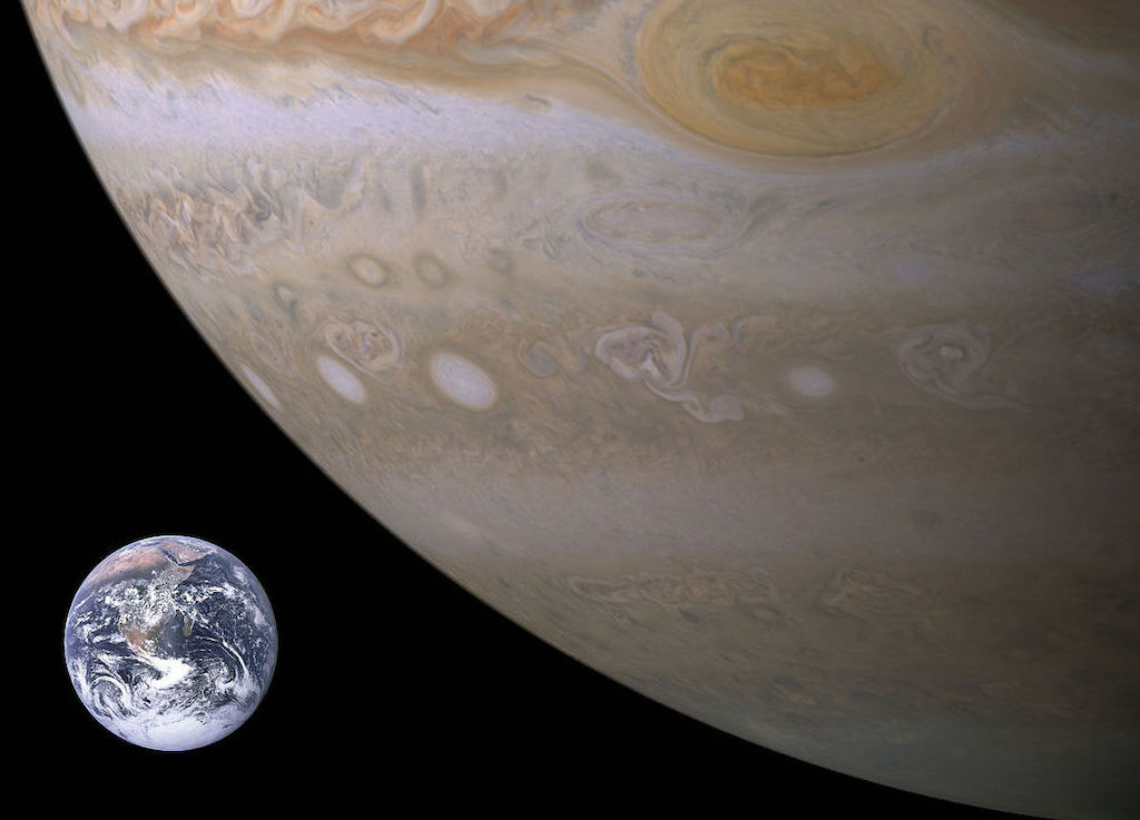 Earth is small compared to Jupiter. Jupiter is roughly 11 times larger.