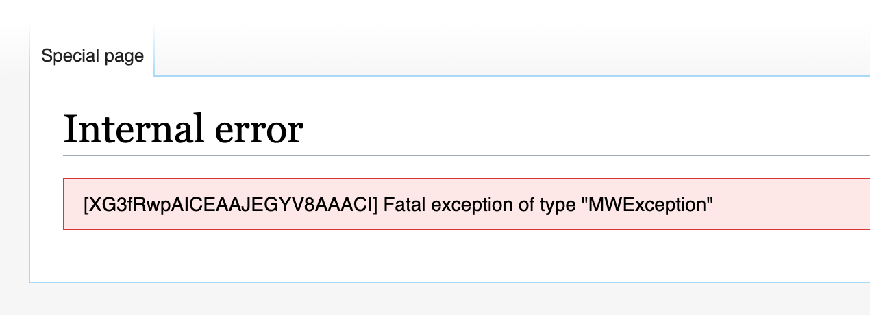 """Users were shown an """"Internal error"""" page, stating a fatal exception had ocurred, with an Error Code next to it."""