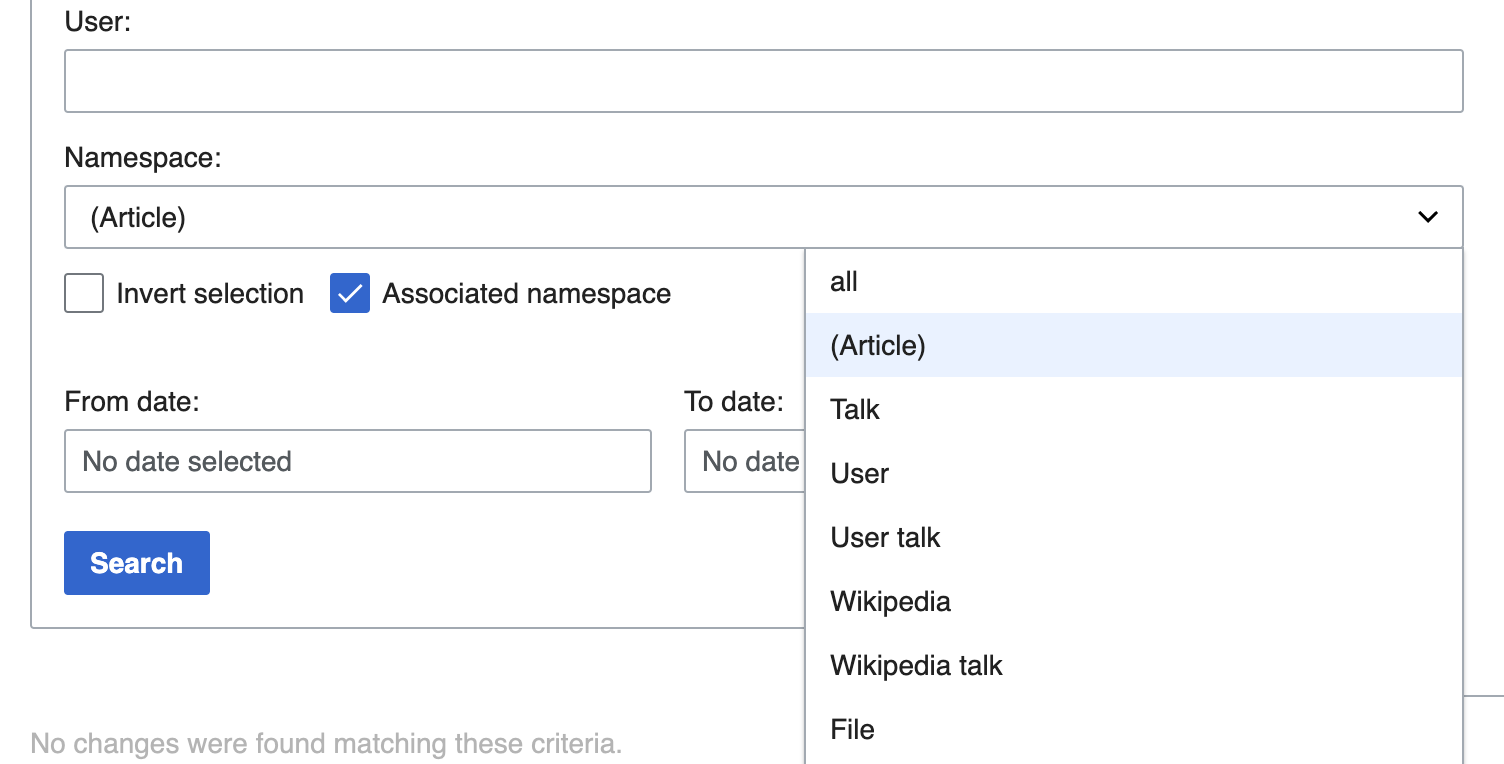 """The Special:Contributions form contains a """"Namespace"""" dropdown menu with options such as """"Article"""", """"Talk"""", """"User"""", and """"File"""". It also has a checkbox for """"Include associated namespace""""."""